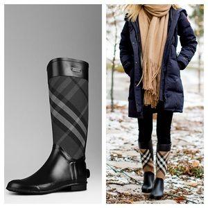 Burberry check black rain tall boots 39
